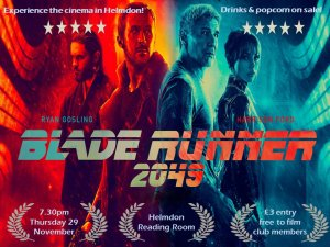 Screening of Blade Runner 2049 (15), 7:30pm, Reading Room