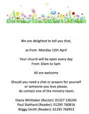 Church to reopen Monday 12th April